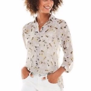 CAbi Matinee Sheer Floral Button Blouse